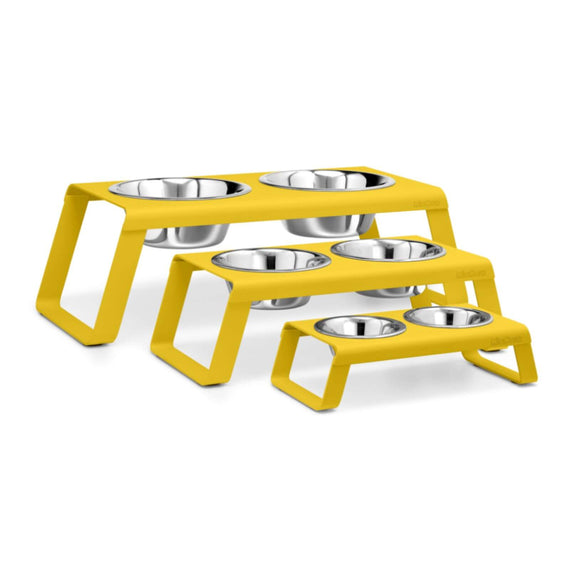 FURST - Set of high quality aluminum bowls for dogs in yellow color