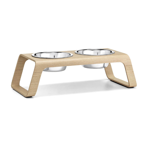 FURST - Double bowls with high-end booster for medium-sized dog in natural color