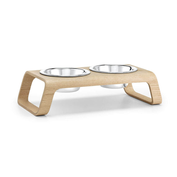 FURST - Double bowls with high-end booster for small dog of natural color