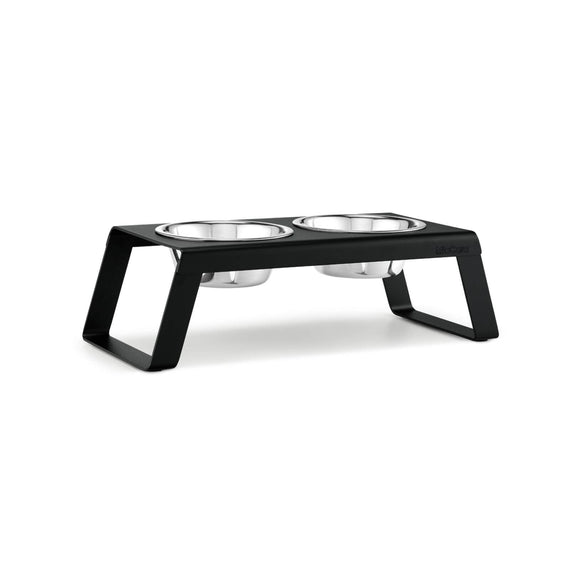 FURST - Set of high-quality aluminum raised bowls for medium dogs in black