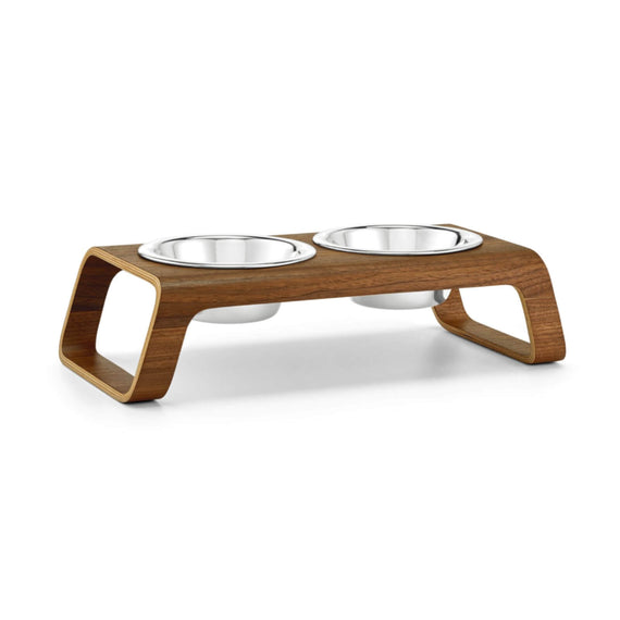 FURST - Double bowls with high-end booster for small walnut colored dog