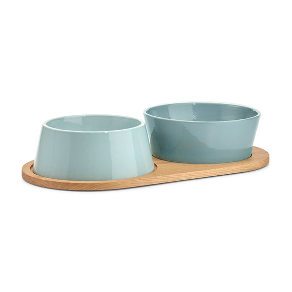FURST - Set of two bowls for medium and large blue ceramic dog with a wooden stand