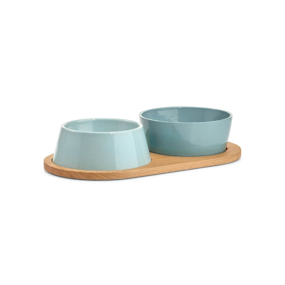 FURST - Set of two bowls for small and medium blue ceramic dog with a wooden stand