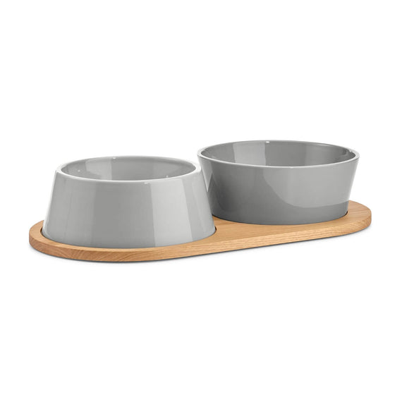 FURST - Set of two bowls for medium and large gray ceramic dog with a wooden stand
