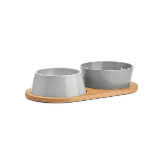 FURST - Set of two bowls for small and medium gray ceramic dog with a wooden stand
