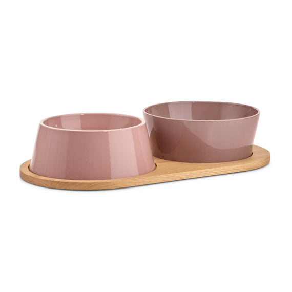 FURST - Set of two bowls for medium and big dog in pink purple ceramic with a wooden stand