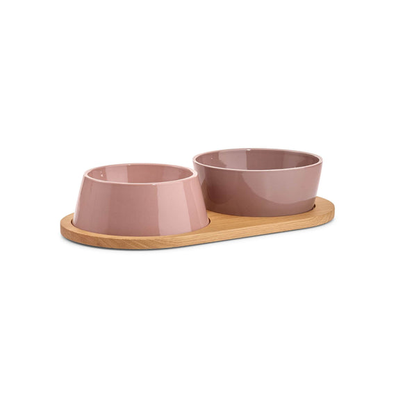 FURST - Set of two bowls for small and medium pink purple ceramic dog with a wooden stand