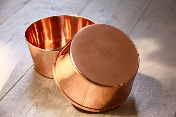 FURST - Batch of 2 luxury bowls in pure copper for small and medium dogs