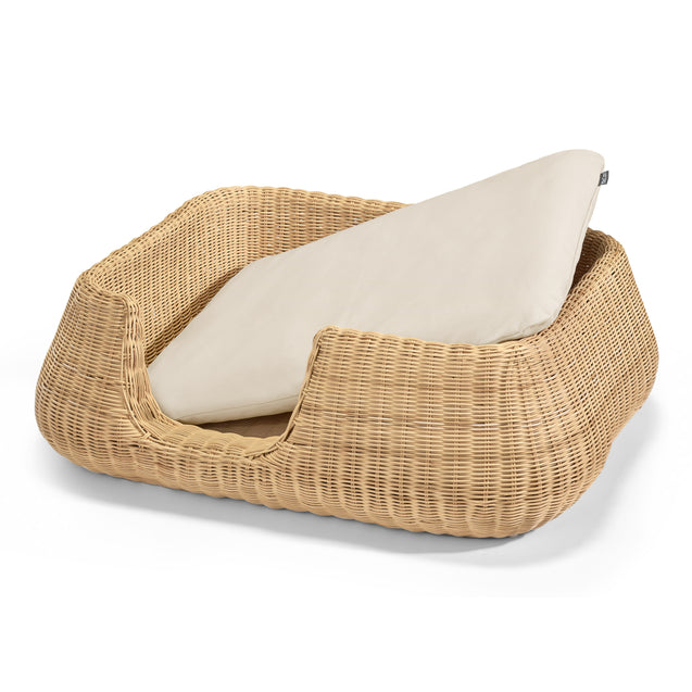 FURST - Basket mio for average dog in rattan with its cream cushion