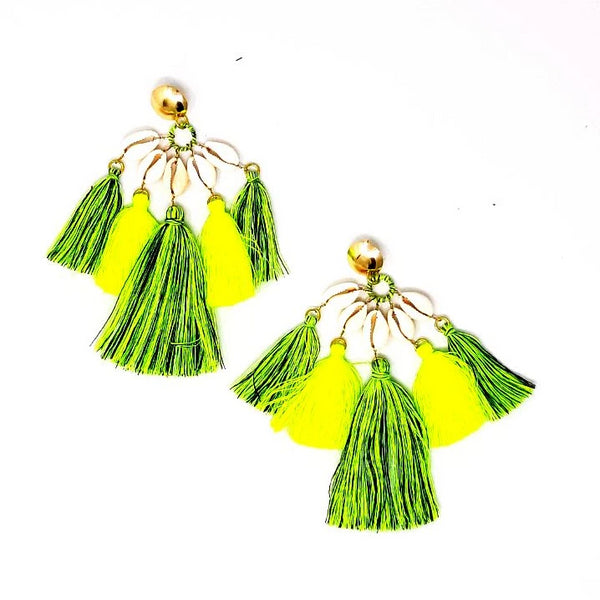 NEON REEF EARRING LIME AND GREY