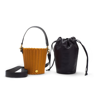 WOVEN LEATHER BUCKET TURMERIC