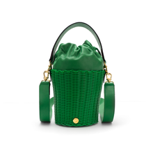 Load image into Gallery viewer, WOVEN LEATHER BUCKET GREEN