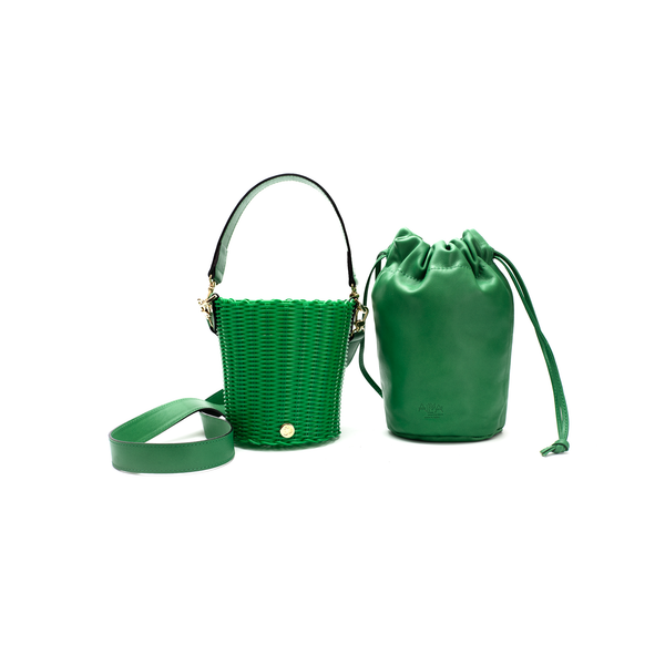 TONATI WOVEN LEATHER BUCKET GREEN