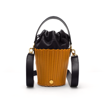 Load image into Gallery viewer, TONATI WOVEN LEATHER BUCKET TURMERIC