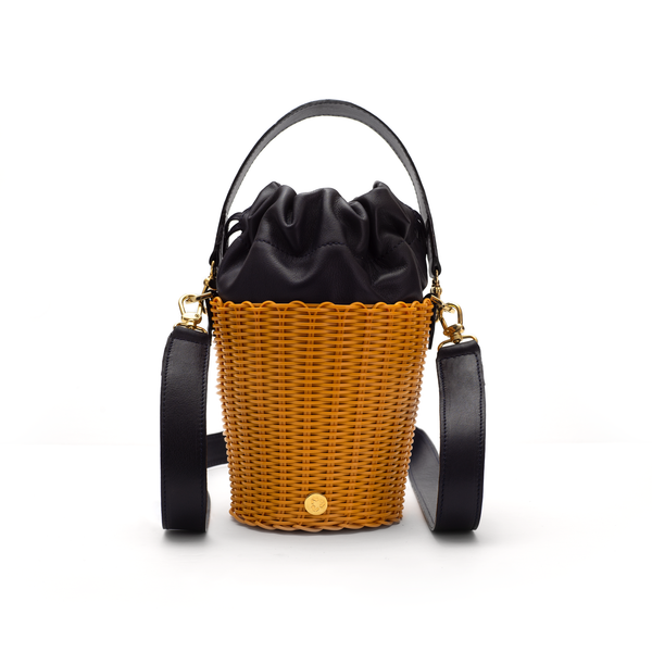 TONATI WOVEN LEATHER BUCKET TURMERIC