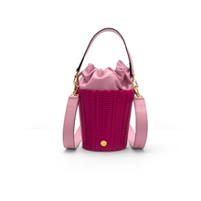Load image into Gallery viewer, WOVEN LEATHER BUCKET PINK