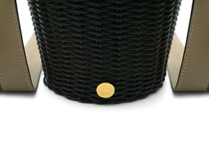 WOVEN LEATHER BUCKET NERO