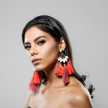 Load image into Gallery viewer, NEON REEF EARRING CORAL AND GREY