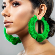 Load image into Gallery viewer, TONATI HOOP EARRINGS GREEN
