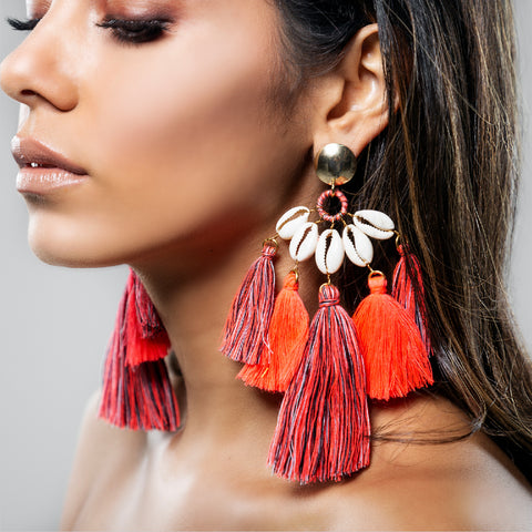 NEON REEF EARRING CORAL AND GREY