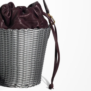WOVEN LEATHER BUCKET SILVER