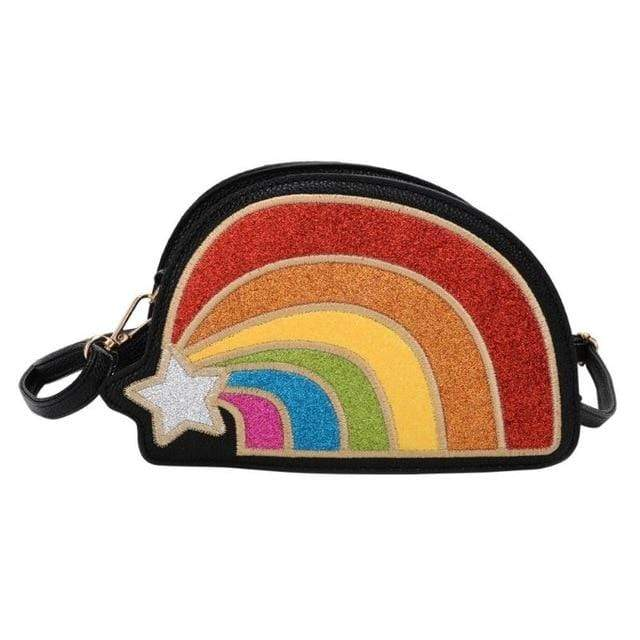 So Kawaii Shop Black The Kawaii Rainbow Glitter Clutch Handbag 23349344-01