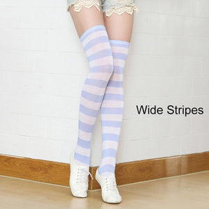 So Kawaii Shop a16 Kawaii Candy Color Striped Thigh High Stockings 17635598-a16