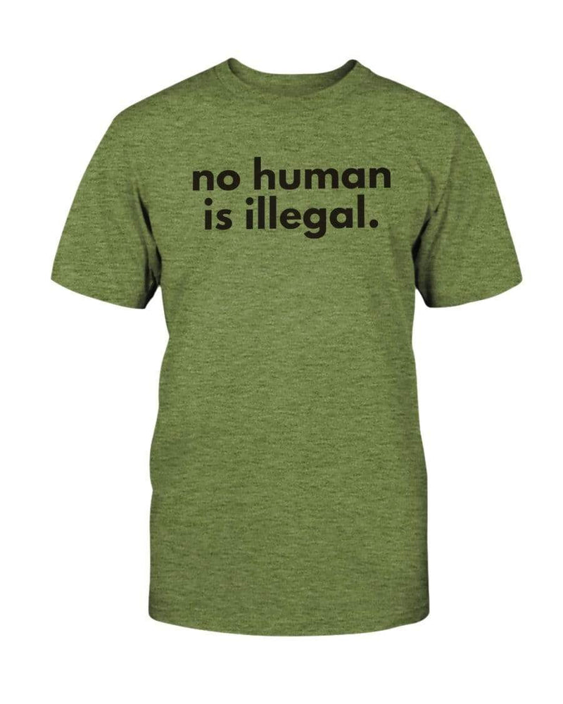 Fuel Apparel Bella + Canvas Unisex T-Shirt / Heather Green / S No human is illegal 01-829A41-S