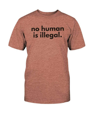Fuel Apparel Bella + Canvas Unisex T-Shirt / Heather Sunset / S No human is illegal 01-EF876D-S