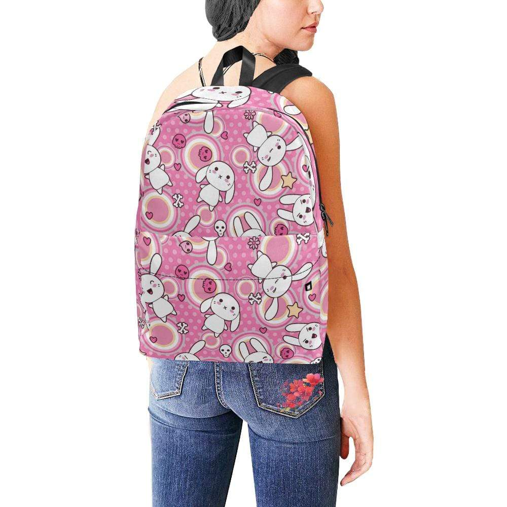 interestprint Backpacks One Size Kawaii Goth Bunny Circle of Pink Backpack D1327514