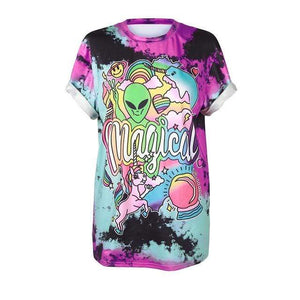So Kawaii Shop BAM008 / S So Kawaii Pastel Goth & Punk Alien Tees 22789541-bam008-s