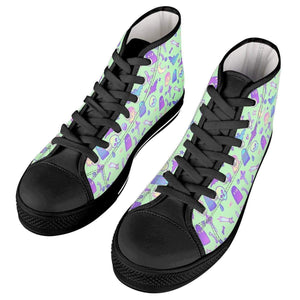 So Kawaii Shop batty mint black high all ambitions Black High Top Canvas Shoes
