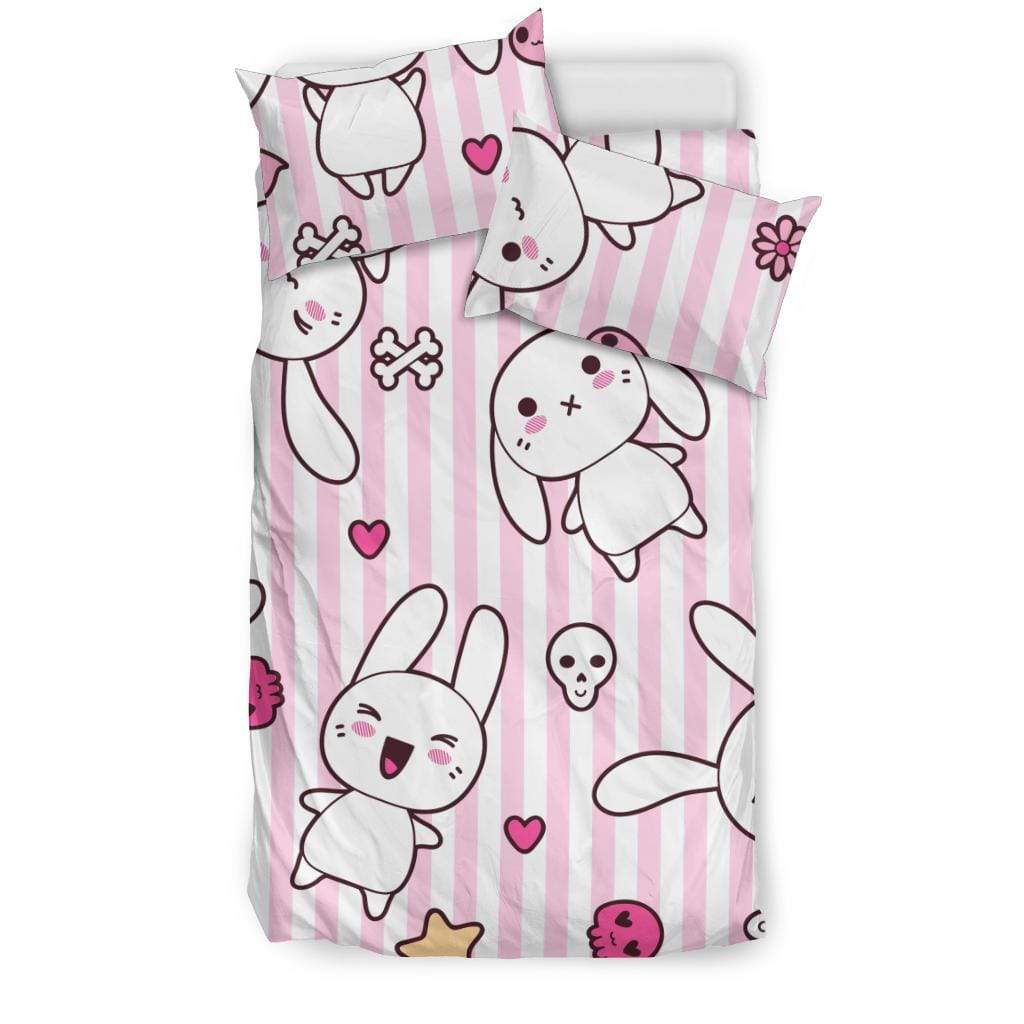 So Kawaii Shop Bedding Set - Black - Kawaii Pastel Goth Bunny Bedding Set / US Twin Kawaii Pastel Goth Bunny Bedding Set PP.12301484