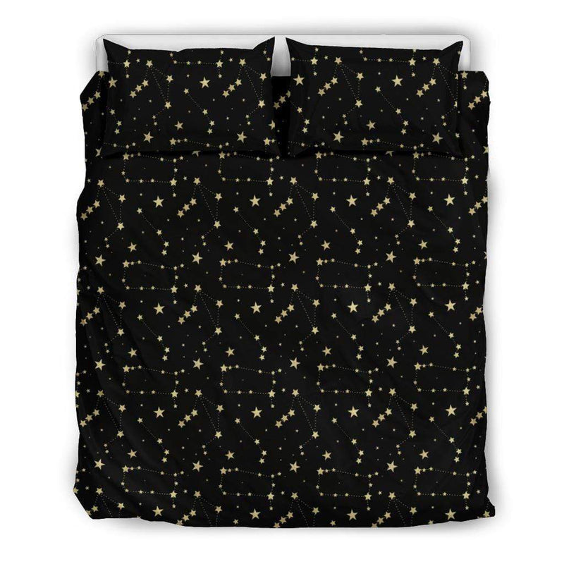 So Kawaii Shop Bedding Set - Black - Mystic Dark Skies Constellations Bedding Set / US Queen/Full Mystic Dark Skies Constellations Bedding Set PP.14611225