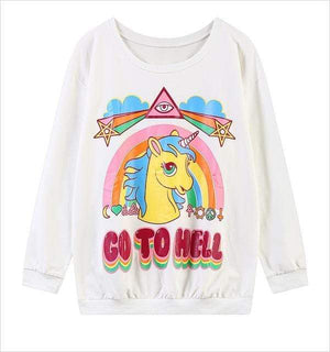 So Kawaii Shop Beige / S The Kawaii Unicorn Go to Hell Sweatshirt 1701035-beige-s