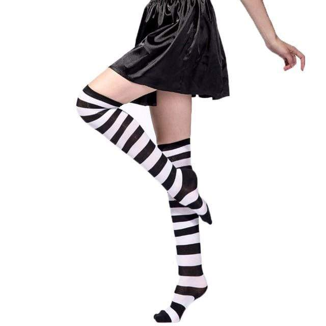 So Kawaii Shop Black and White / One Size Kawaii Rainbow Stripes Over The Knee Socks 22803673-black-and-white-one-size