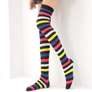 So Kawaii Shop Black iridescent / One Size Kawaii Rainbow Stripes Over The Knee Socks 22803673-black-iridescent-one-size
