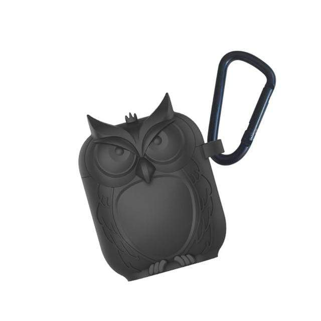 So Kawaii Shop Black Kawaii Owl Shape Soft Silicone Shockproof Case With Carabiner For WIreless Headphones 22761653-black