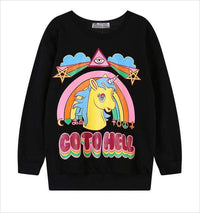 So Kawaii Shop Black / S The Kawaii Unicorn Go to Hell Sweatshirt 1701035-black-s