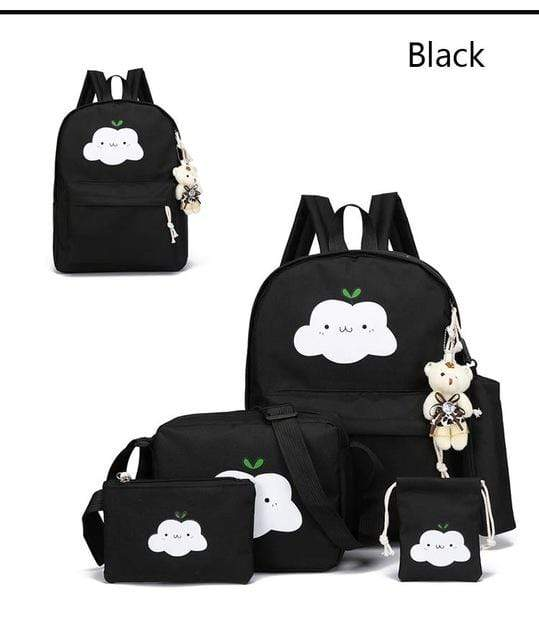 So Kawaii Shop Black Super-Kawaii Nylon Backpack and Travel Bag Set 16048683-black