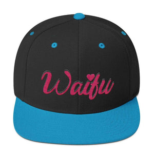 So Kawaii Shop Black/ Teal The Waifu Snapback Hat 5764611