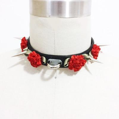 So Kawaii Shop Black w Red Flower Harajuku Kawaii Rose Spiked Choker with lead clip 3129560-black-w-red-flower