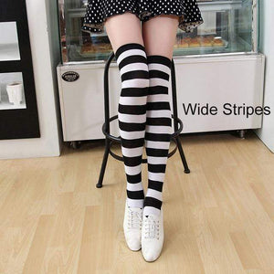 So Kawaii Shop black/white Kawaii Candy Color Striped Thigh High Stockings 17635598-a15