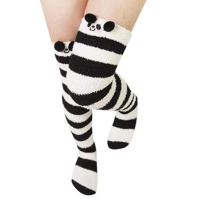 So Kawaii Shop black/white stripes/panda Harajuku Kawaii Animal Thigh High Socks 15485321-c05