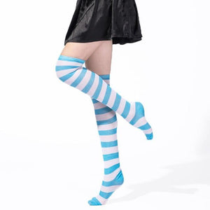 So Kawaii Shop Blue and white / One Size Kawaii Rainbow Stripes Over The Knee Socks 22803673-blue-and-white-one-size