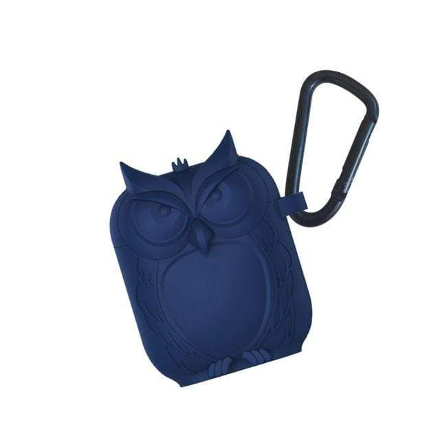 So Kawaii Shop Blue Kawaii Owl Shape Soft Silicone Shockproof Case With Carabiner For WIreless Headphones 22761653-blue