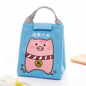 So Kawaii Shop Blue Piggy Kawaii Insulated Lunch Bag 26996903-sky-blue