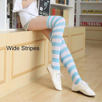 So Kawaii Shop blue/white Kawaii Candy Color Striped Thigh High Stockings 17635598-a2