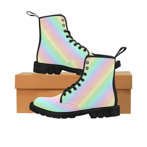 interestprint Boots Kawaii Pastel Diagonals Black Boots