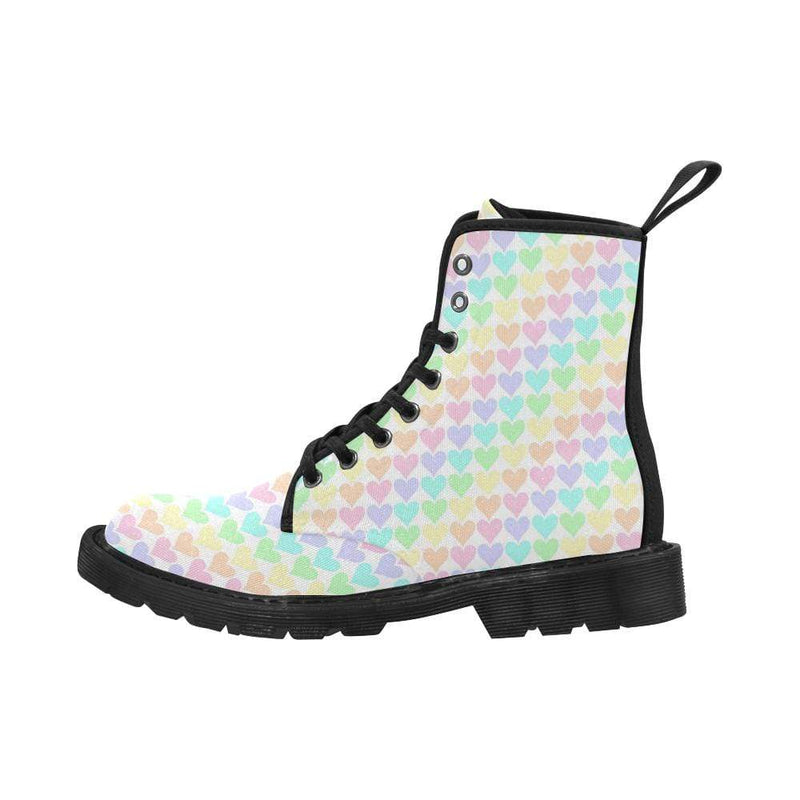 interestprint Boots Kawaii Pastel Hearts Black Martin Boots
